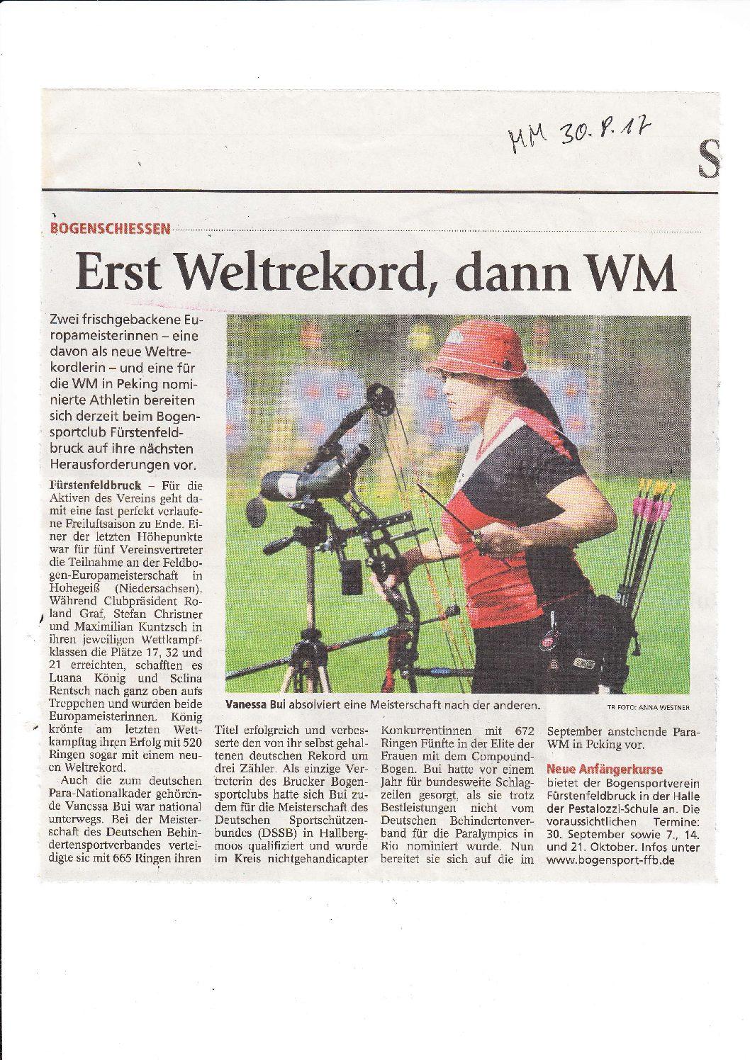 Artikel Münchner Merkur 30.08.2017